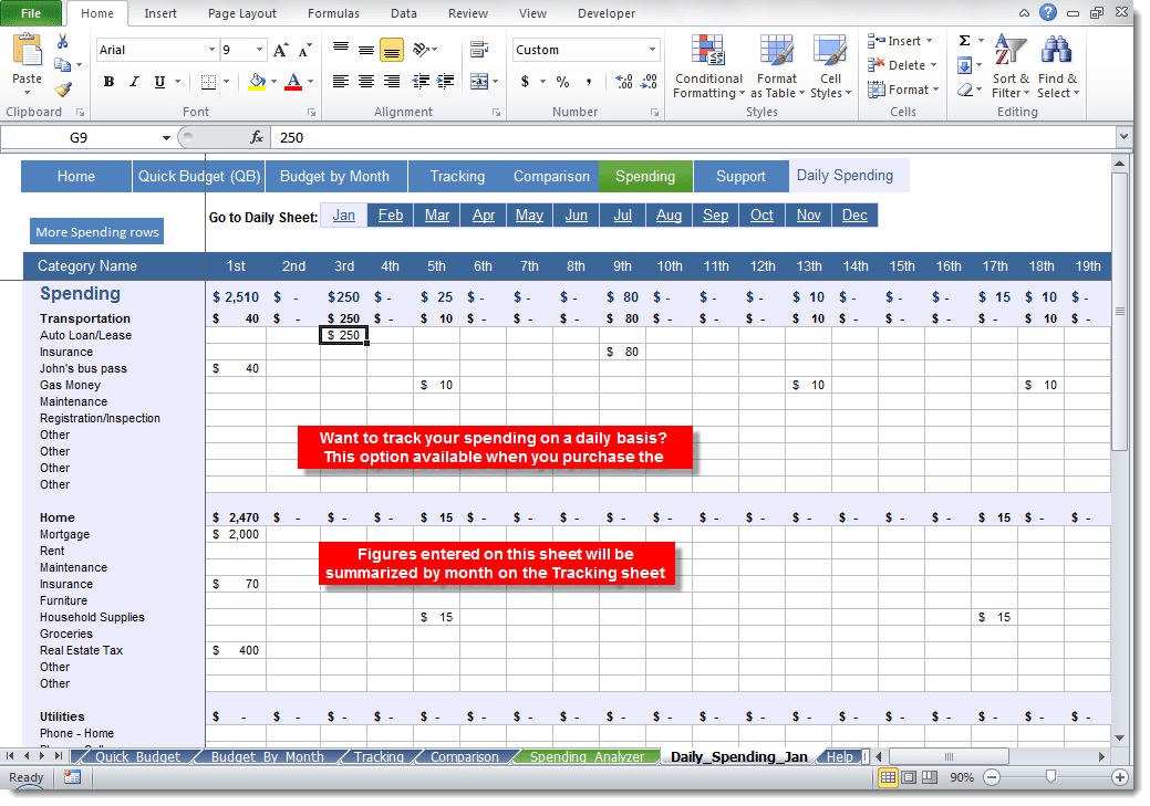 daily budget excel sheet