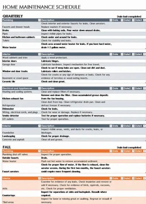 facility maintenance checklist template 511