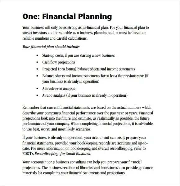 Financial Planning Sample