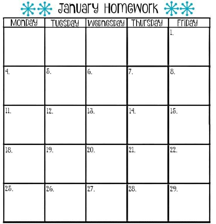9+ Homework Calendar Templates