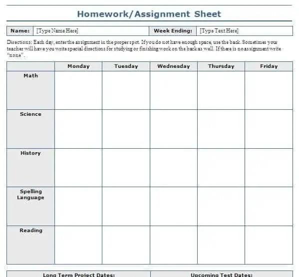 homework scheduel 26346