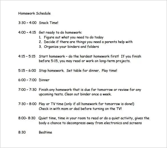 9+ Homework Schedule Templates
