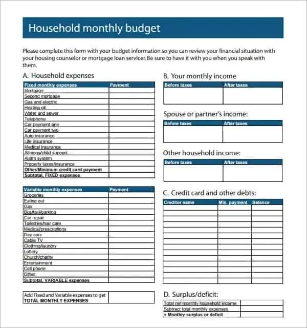 house budget spreadsheet template