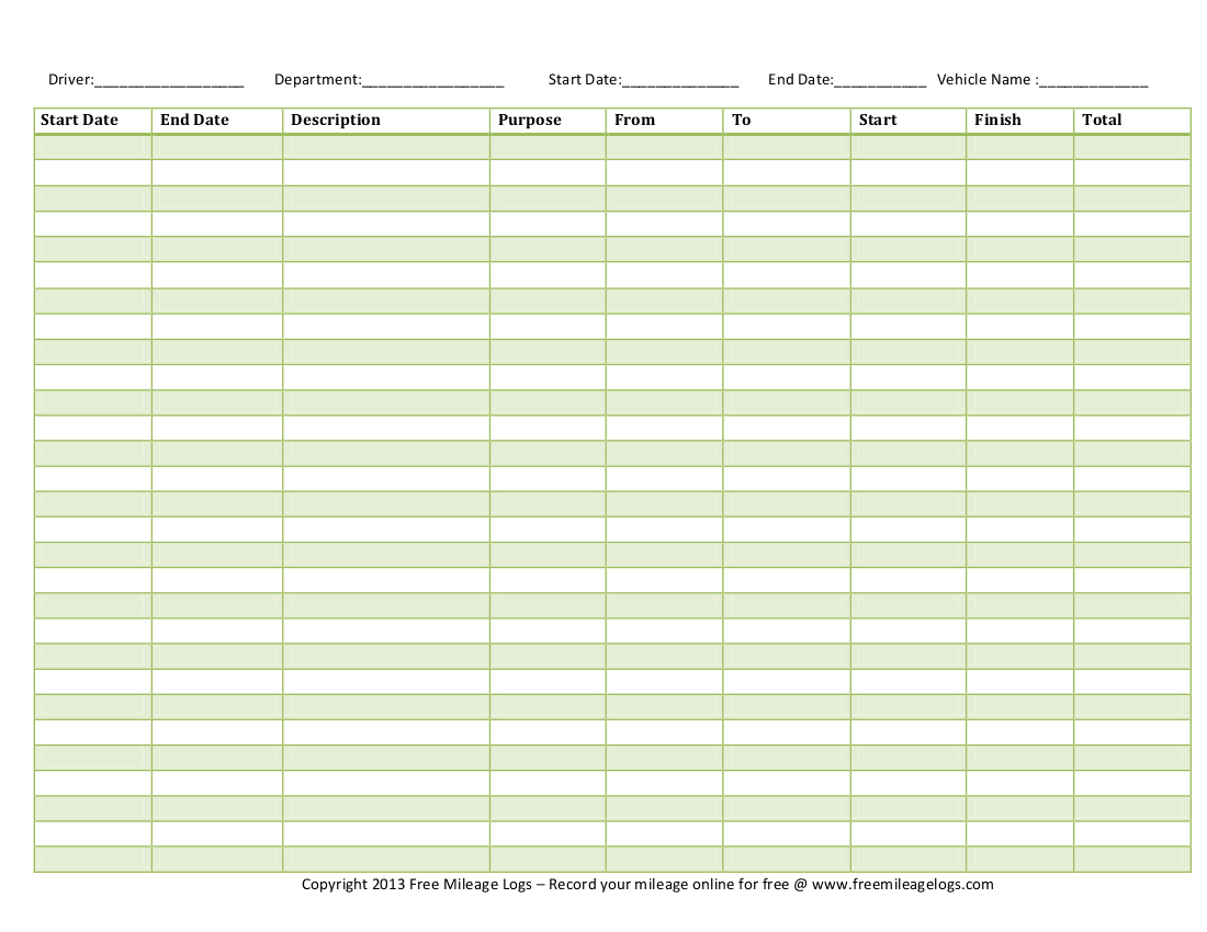 10 Excel Mileage Log Templates