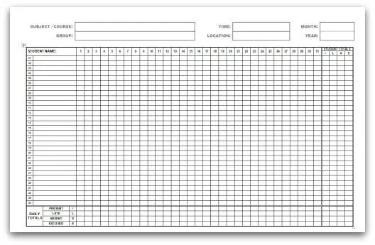 9 monthly attendance sheet templates excel templates. Black Bedroom Furniture Sets. Home Design Ideas