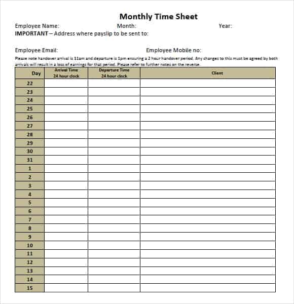 monthly timesheet template 333