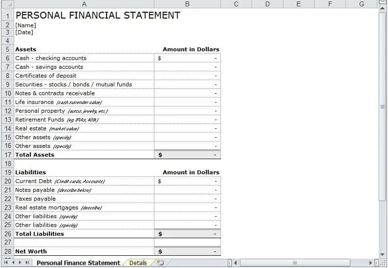 Personal Financial Statement Template  Ex