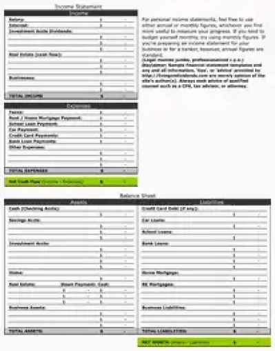 personal financial statement template 5124