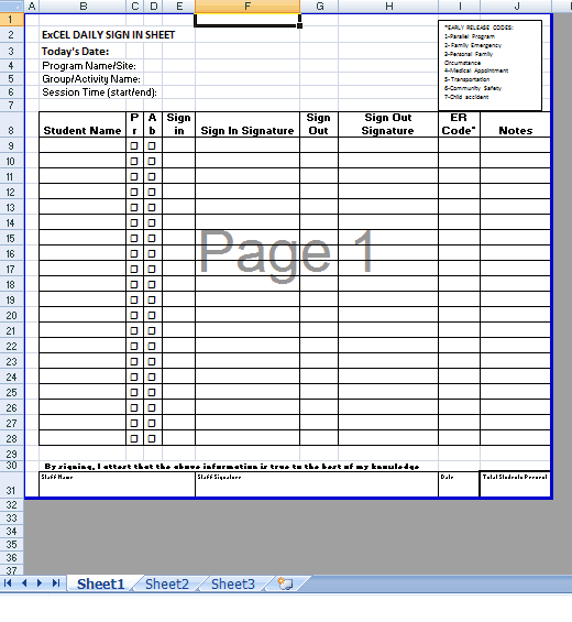 daily sign in sheet
