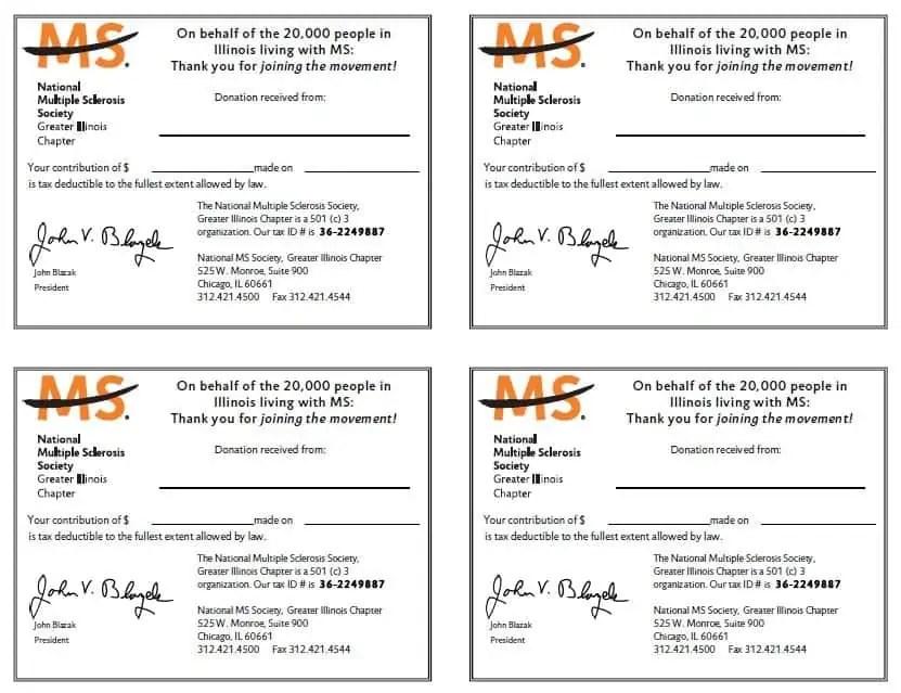 charity donation receipt
