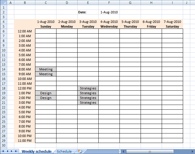 schedule sheet excel