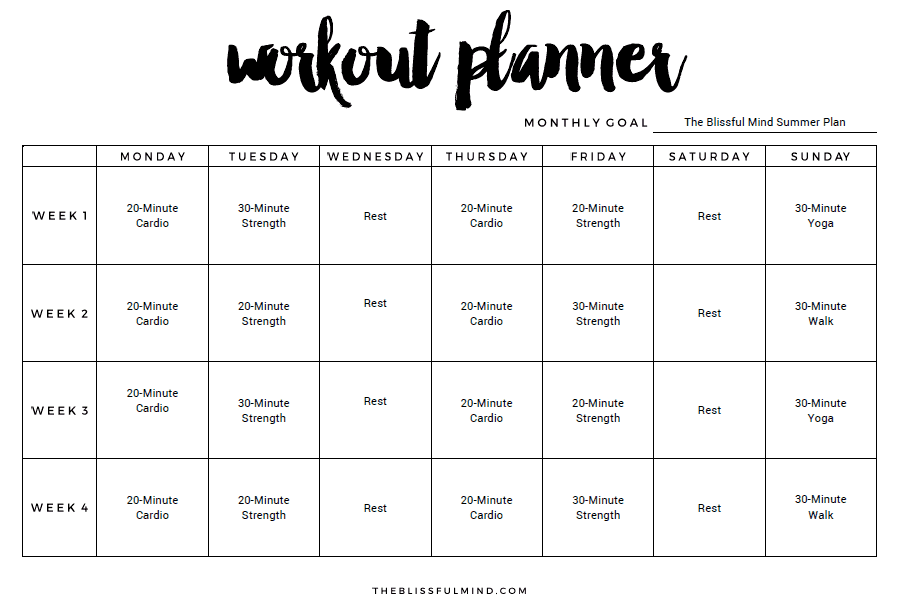 Weekly Workout Plan Template. 9+ Excel Workout Templates