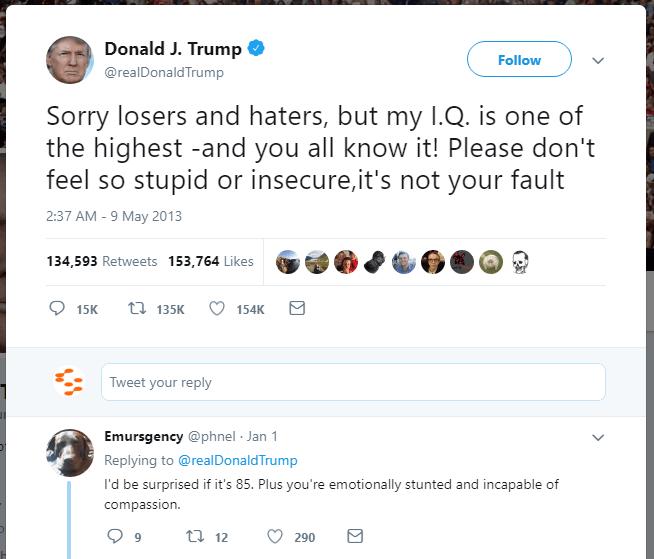 Donal Trump's IQ tweet