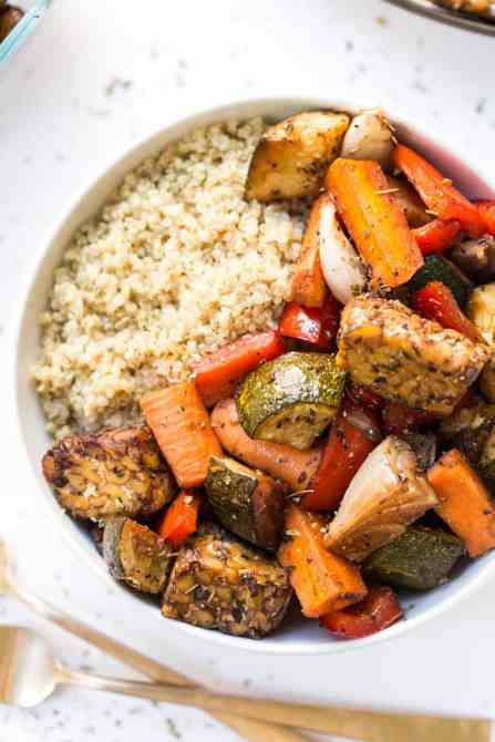 Tempeh and Roasted Vegetables Healthy Dinner Recipe