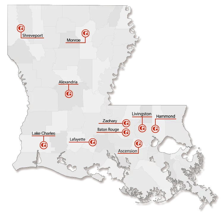 Gordon Locations Louisiana Map