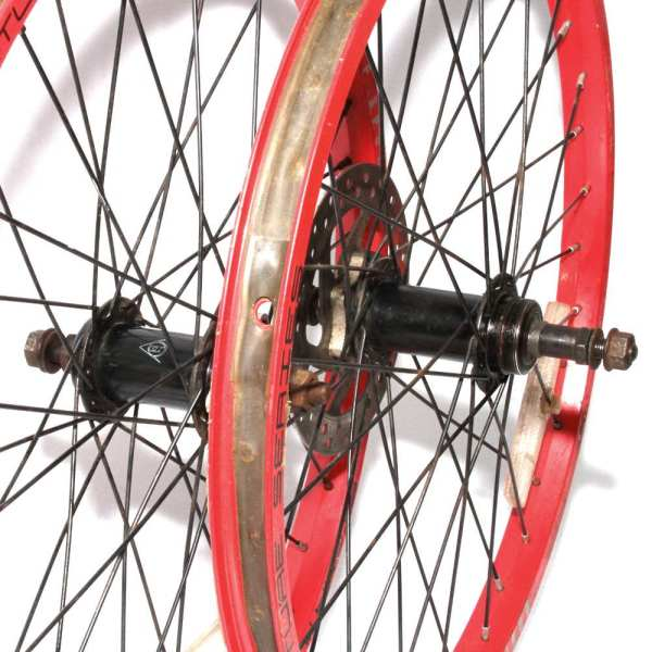 "20"" Wheels Pair Red Alloy Rims Screw-on 6 Speed Disc"