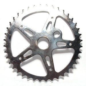 40T Chainring BMX One Piece Crank 5 Spoke Star Classic Chromed Steel Silver