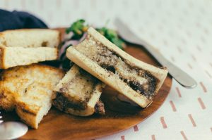 Close up on 2 pieces of roasted bone marrow - The Mummy