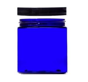 cobal blue jar with black lid