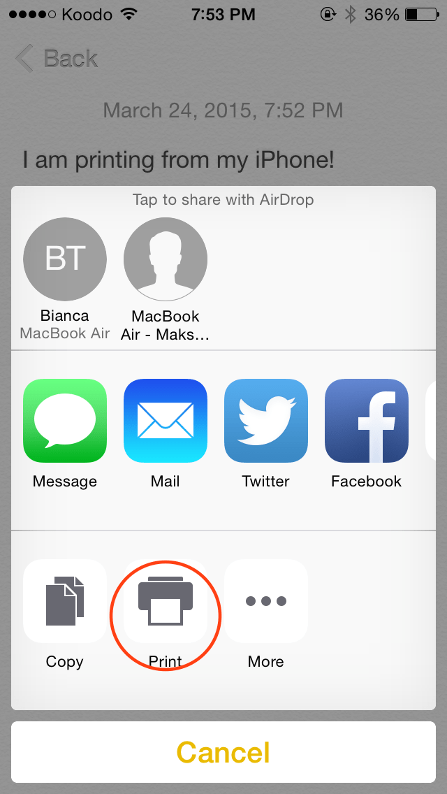 how to set up airprint on iphone print from an iphone using airprint orchard 20313
