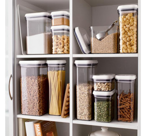 oxo containers on a shelf