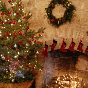 Christmas Stockings in the castle tower