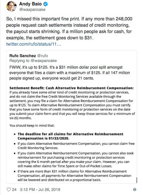 Equifax settlement conversation on Twitter