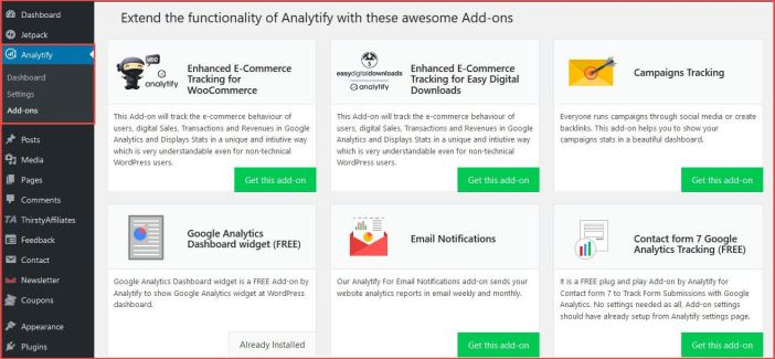 add-ons for analytify plugin -Analytify Review