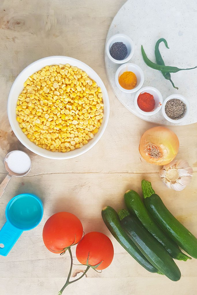 Ingredients for yellow split pea with zucchini