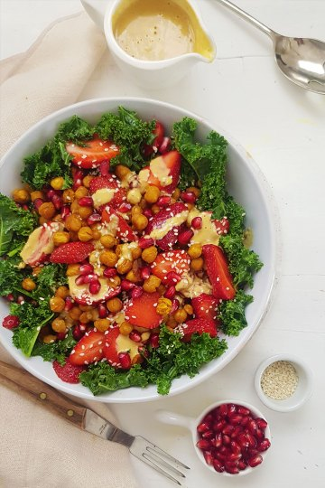 vegan kale salad with tahini dressing