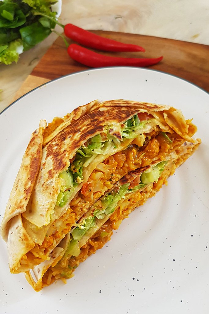 side view of center cut vegan crunchwrap
