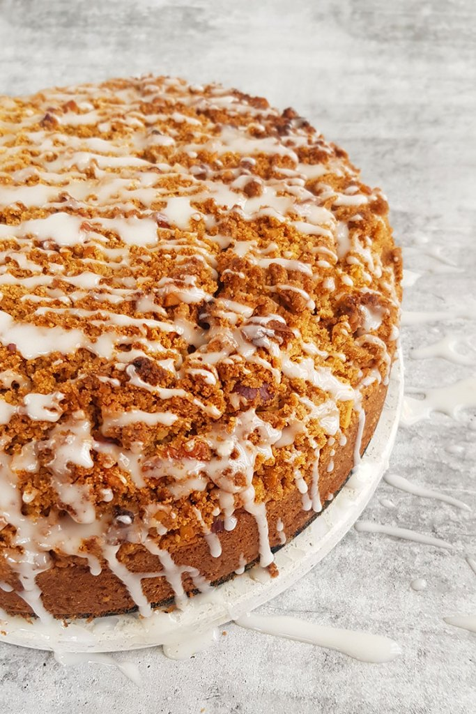 Top view of cake with Cinnamon Streusel
