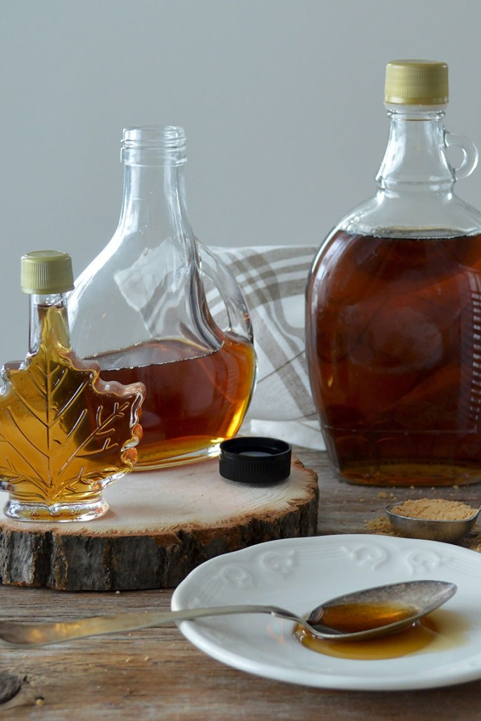 maple syrup and other honey substitute in bottles.