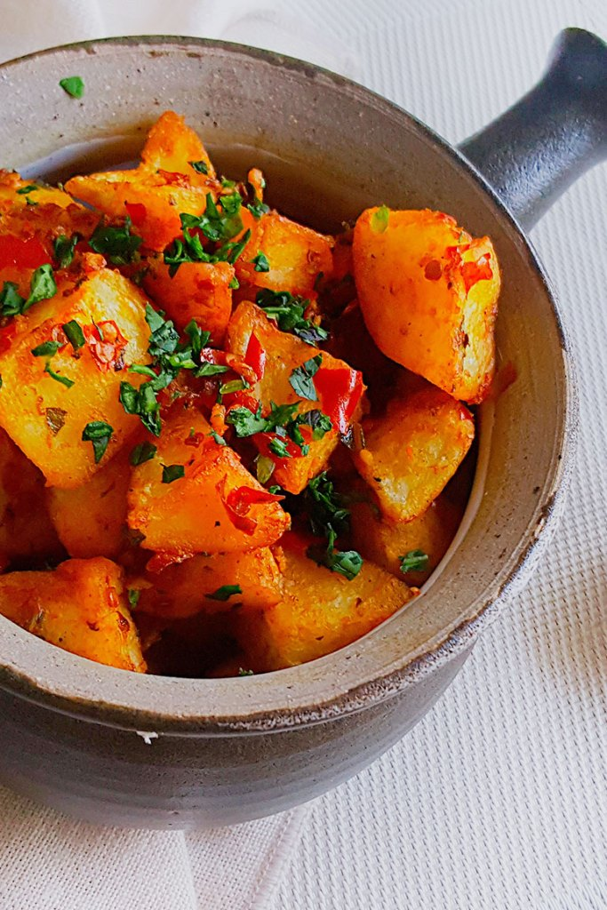 Batata Harra is served with cilentro