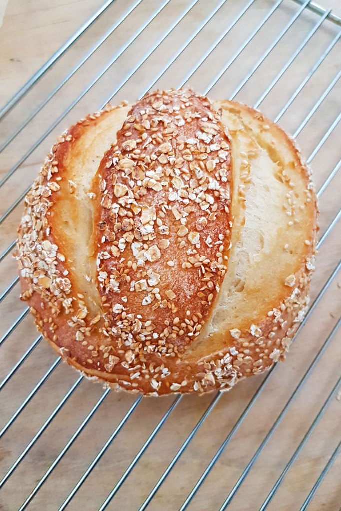 No Knead Artisan Bread on cooling rack