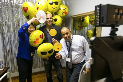 open house at sims business systems photo booth
