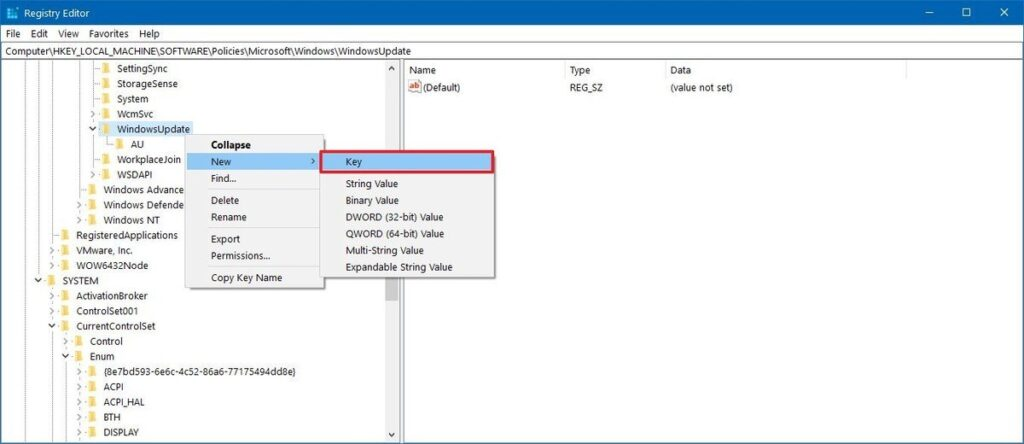 AU Registry key to disable Windows Update