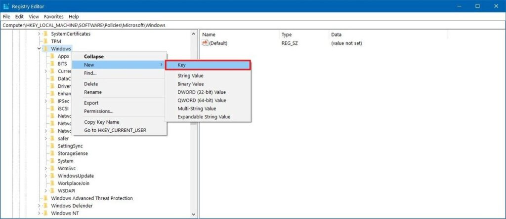 Windows Update registry key