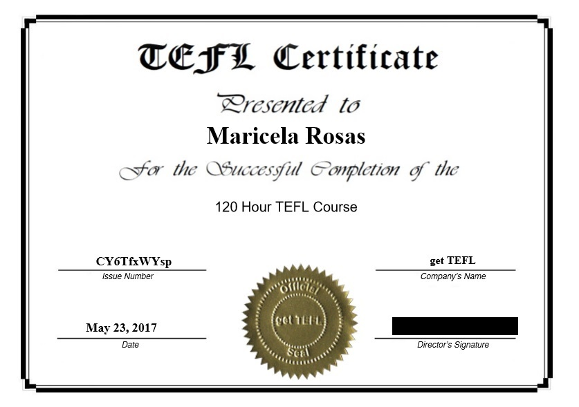tefl certificate certification sample successfully receive completed once course