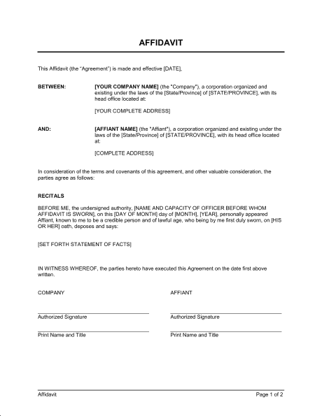 write affidavit sample