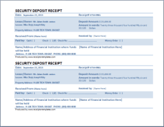 security deposit receipt template 55