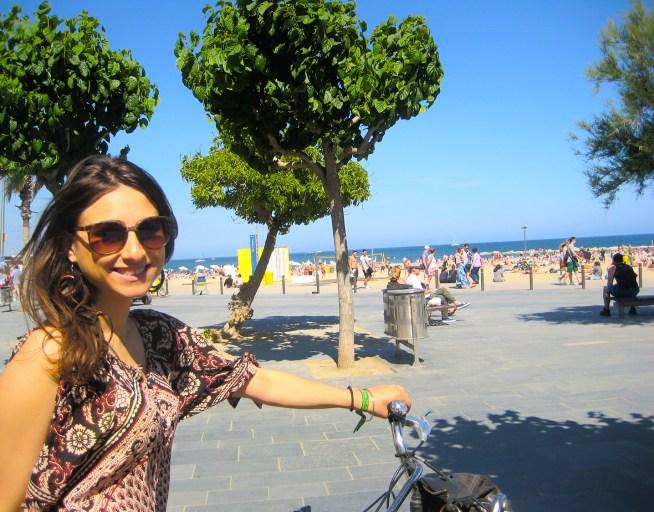 Biking on the beach in Barcelona