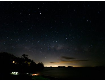 Star filled sky over Waitete Bay at Labour Weekend