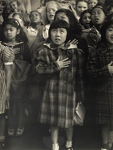 Pledge of Allegiance - San Francisco, California (Dorothea Lange, 1942) Getty Museum