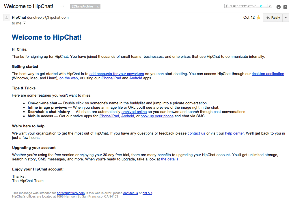 HipChat Welcome Email