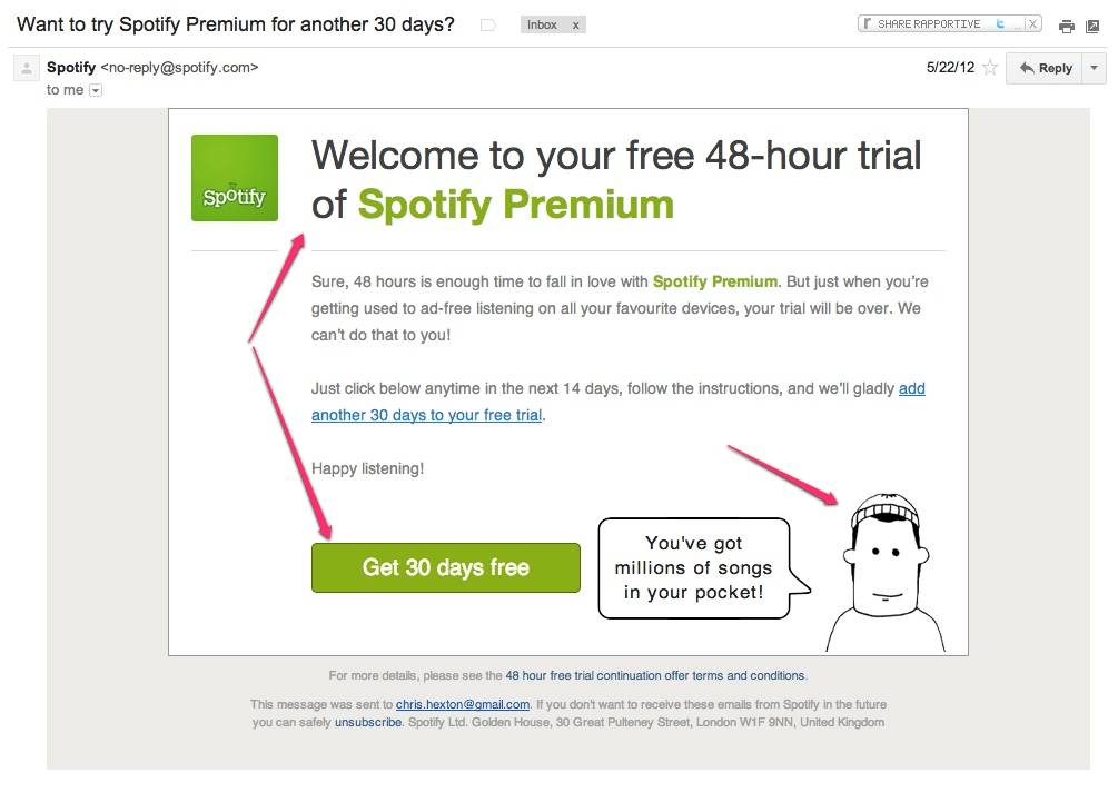 Spotify upgrade to 30 day free trial