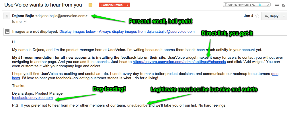 UserVoice Dejana Product Manager Welcome Email