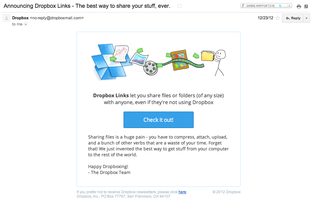 Dropbox Email Marketing Links