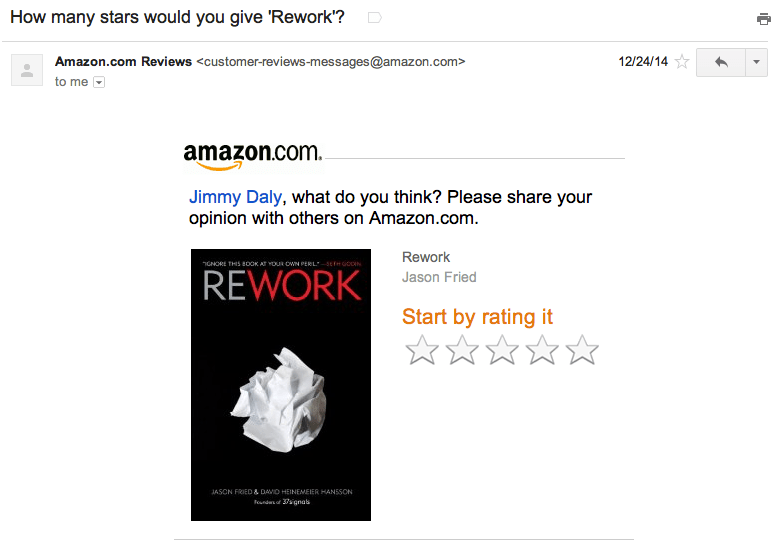 Amazon review email