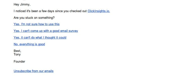 ClickInsights retention email